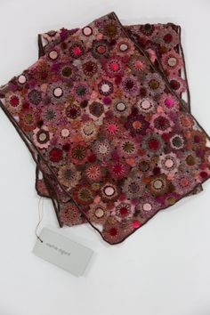 Sophie Digard | Fleur Velvet Large Crochet Scarf | Pomegranate Crochet Flowers, Pomegranate, Free Pattern, Bubbles, Delicate, Velvet, This Or That Questions, Appreciation, Handmade