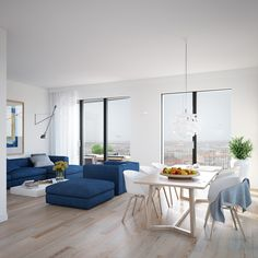 Cool-blue-apartment-open-plan-living-dining-with-minimal-window-treatments-and-blonde-wood-flooring.jpg (900×900)