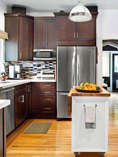 #dark_wood_cabinets #small_kitchen #kitchen