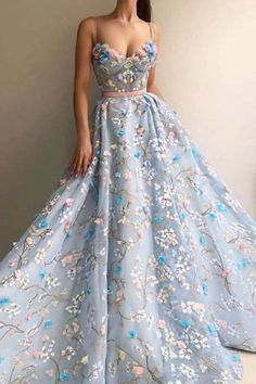 Gorgeous Fashion Long Spaghetti Straps Princess Prom Dresses Evening Dresses This dress could be custom made there are no extra cost to do custom size and color Princess Prom Dresses, Pretty Prom Dresses, Tulle Prom Dress, Prom Dresses Blue, Ball Dresses, Elegant Dresses, Cute Dresses, Beautiful Dresses, Evening Dresses