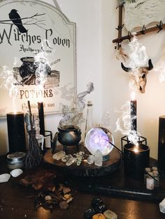 Check out this witchy vibe room idea, so cute! Autel Wiccan, Wicca Altar, Wiccan Decor, Magick, Witchcraft, Fete Halloween, Halloween Decorations, Halloween Room Decor, Witch Potion
