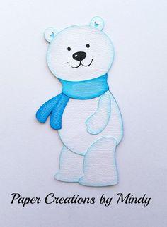 Craftecafe Mindy Winter Christmas Polar Bear  premade paper piece scrapbook page #PaperCreationsbyMindy
