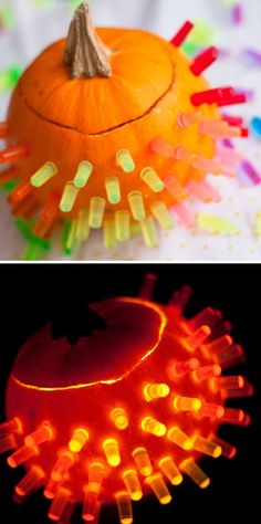 Lite Brite Pumpkin diy decorating from Giver's Log #creativepumpkindecorating and other Fall crafts found on Pinterest.