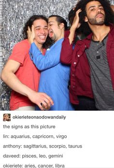 This is my favorite picture ever Also, I am a Capricorn which makes me a- Lin-Manuel Miranda and b-licking Anthony Ramos' face so honestly goals achieved.