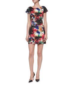 Taylor Graffiti-Print Dress, Multi Colors - Milly