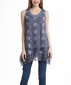 Blue Floral Lace Layered Sleeveless Tunic