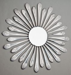 Flatware Sunburst 14 w/ Beveled Mirror Handmade by HammerandI Plastic Silverware, Silverware Art, Cutlery, Welding Art, Welding Projects, Welding Ideas, Fork Crafts, Spoon Art, Found Object Art