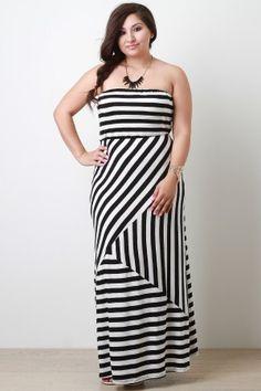 Asymmetrical Stripe Strapless Maxi Dress In Plus Sizes