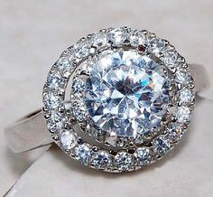 Glimmering 2.25 ctw White Topaz Halo Ring~925 Sterling Silver! Heirloom Item