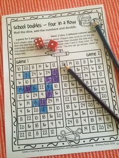No Prep game for second grade - Players roll 2 dice, add and double while trying to make four in a row. More print and play games and also colored board games for second grade in Back to School Math Games Second Grade.