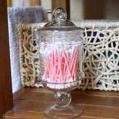 Pot à coton en verre - bonbonniere de rangement salle de bain - petit pot verre transparent Pots, Boutique Deco, Rug, Organization, Interior, Scrapbooking, Bathroom, Home Decor, Style