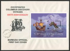 Barbuda Scott Oct Souvenir Sheet with Discovery of America and World Columbian Stamp Expo emblems and: Sea Monster, Galleon, Wind. (Antigua with BARBUDA MAIL overprint. Christopher Columbus, First Day Covers, Sea Monsters, Discovery, Stamps, America, Seals, Antigua, Souvenir