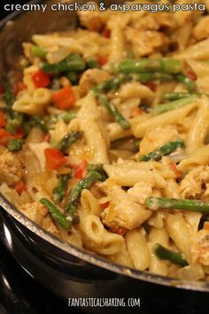 Creamy Chicken and Asparagus Pasta #recipe #pasta #chicken #asparagus #maindish