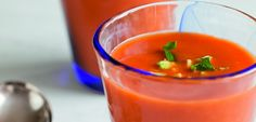 Gazpacho soup - This is so delicious! Serve it very cold and after one spoonful, you will think you are about to do a flamenco dance with a tall, dark, handsome Spaniard with a red rose in his mouth.