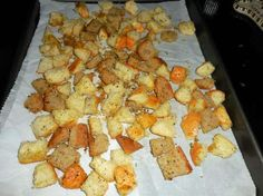 Cubes of leftover bread can be tossed in seasoned oil and toasted to make croutons.