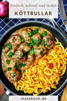 A pan with Köttbullar and spaetzle # dinner fast A pan with Kött . - A pan with Köttbullar and spaetzle # dinner quick A pan with Köttbullar and spaetzle - Meatloaf Recipes, Meat Recipes, Crockpot Recipes, Vegetarian Recipes, Dinner Recipes, Healthy Recipes, Dinner Crockpot, Menu Dieta, Carne Picada