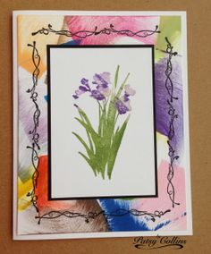 By Patsy Collins. Background panel: Swipe direct-to-paper with Distress ink pads in a curved motion. Attach to a white card base. Attach a stamped image mounted on black cardstock. Stamp a decorative border in black around the image panel.