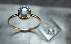 1.87 ct Gray Diamond in Yellow Gold  Rose Cut by ChincharMaloney, $1399.00