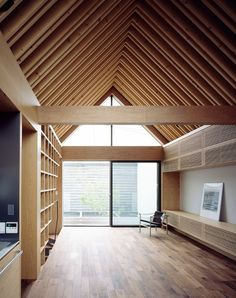 ARK is a minimalist residence located in Tokyo, Japan, designed by APOLLO Architects & Associates. The box-shaped volume on the second floor sticks out towards the street. The front yard is enclosed. Timber Architecture, Contemporary Architecture, Architecture Details, Wood Facade, Wood Cladding, Timber Roof, Wood Interiors, Wooden House, Japanese House