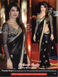 Priyanka Chopra Saree in Net Marrakech Event  Price - USD 44 Order here- http://rajasthanispecial.com/index.php/womens-collection/bollywood-saree/priyanka-chopra-black-net-marrakech-saree.html