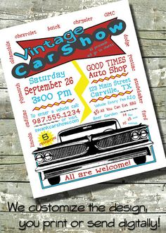 CUSTOM Car Show  Car Wash  Summer FUNDRAISER by DitDitDigital