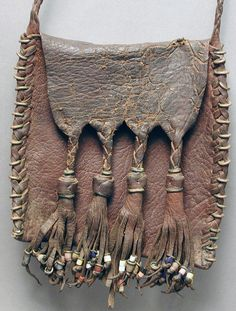 Africa | Leather and glass bead purse bag from the Wodaabe of Mali and Niger. ca. 1970s. | Wodaabe or Bororo are a small subgroup of the Fulani ethnic group.
