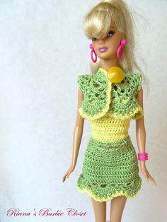 Crochet Barbie Clothes Bolero - Green Lace Barbie Bolero with Yellow Edging, Handmade Fashion Doll Jacket