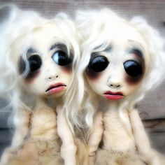 Polymer Clay Art Doll Estonia and Esther #polymer #clay #twins #doll #haunting    $275.00