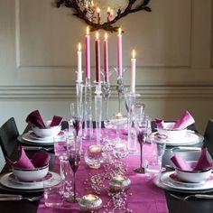 Tavola di Natale, decorazione rosa