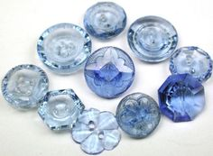 Vintage Depression Glass Buttons Blue