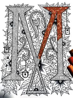 "Letter M Zentangle - Inspired by the font ""Penelope"""