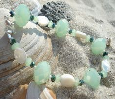 Lime green crystals mixed with shell oval beads. Autumn is here. Available at theriveracollection.com