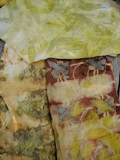 'eco color' experiments dyed on wool and silk fabrics