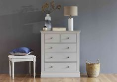 Enjoy clean and fresh Scandi style with the Corndell Ambriella 5 Drawer Chest. Grey Bedroom Furniture, Gray Bedroom, Grey Cushions, White Pillows, Classic Furniture, Furniture Styles, Large Chest Of Drawers, Grey Headboard, Furniture Village