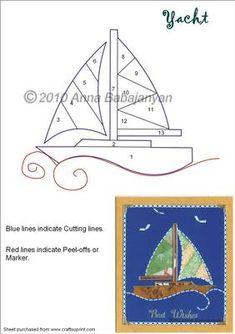 Yacht on Craftsuprint designed by Anna Babajanyan - Yacht Iris Folding Pattern… Iris Folding Templates, Iris Paper Folding, Iris Folding Pattern, Paper Piecing Patterns, Card Patterns, Quilt Block Patterns, Applique Patterns, Paper Cards, Folded Cards