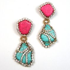 Statement earrings turquoise blue and pink crystal embellished earrings. $85.00, via Etsy.