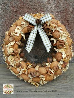 Fall wreath with nuts.