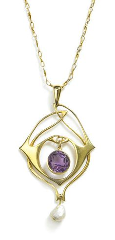 An Archibald Knox fourteen karat gold, amethyst and pearl pendant retailed by Liberty & Co, circa 1900