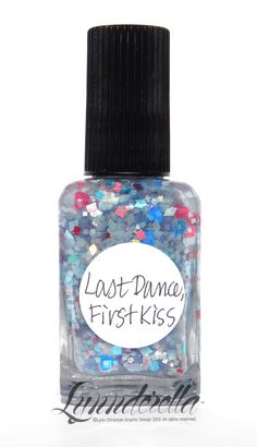 Last Dance, First Kiss is a sequel to Boy Girl Party from Valentines 2012. It has an overall baby blue background with hot pink, red and cyan hearts as well as assorted red, pink and blue glitters in a sheer shimmering blue base.