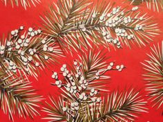 Vintage Christmas Wrapping Paper - Red and Golden Pine Boughs - Scarlet Splendor by Norcross - 1 Unused Full Sheet Christmas Gift Wrap