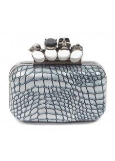 Silver & Aqua Moc Croc Skull Knuckle Clutch Bag