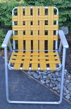 Vintage Aluminum Webbed Lawn Chair Vintage By Austinmodernvintage, $22.00