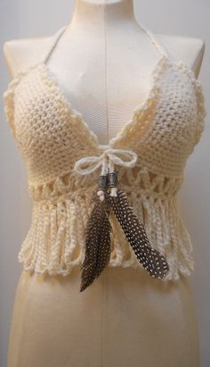 Inspiration: Crochet Hippie Top. Love the feathers!
