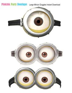 Instant Download, Despicable Me Inspired Balloon Stickers, Despicable Me Goggles, Despicable Me Party Favors