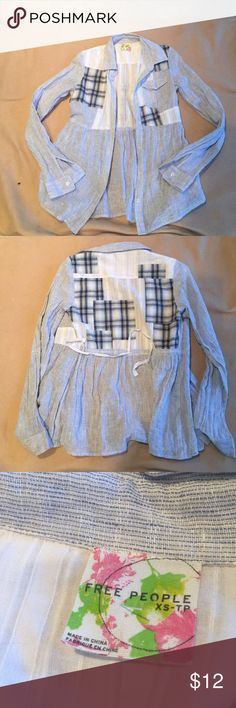 Free people button up shirt. Size extra small Adorable free people button up shirt. Tie in the back patchwork pattern. Excellent condition Free People Tops Button Down Shirts