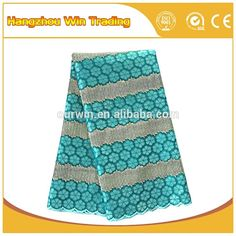 New teal african embroidery lace fabric / 2016 nigerian styles cord lace for women clothing