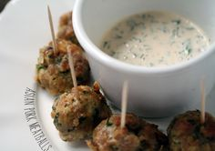 Asian Pork Meatballs with Dipping Sauce   1 lb ground pork  1 egg  1 egg yolk  1/2 c almond flour  1 jalapeño, finely diced  1 t chili garlic sauce  2 green onions, finely chopped  handful cilantro  1/4 t sesame oil  1/3 c mayo  s