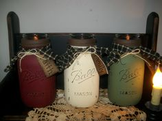 Primitive Distressed Mason Jar Tea Lights https://www.facebook.com/pages/Busy-Mamas-Place/530524783656423