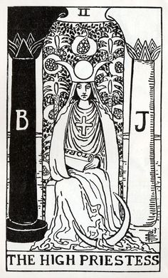 i12bent:    An example of Pamela Colman Smith's line drawings on which the Rider-Waite-Smith tarot deck was based…  Above: The High Priestess