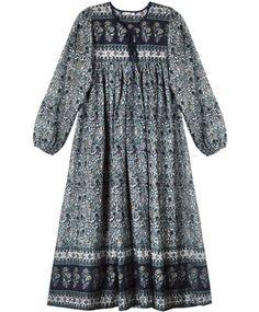 Blue Floral Indian Dress Simple Pakistani Dresses, Pakistani Fashion Casual, Indian Dresses, Indian Fashion, Boho Fashion, Silk Kurti Designs, Blouse Designs, Girls Fashion Clothes, Fashion Dresses